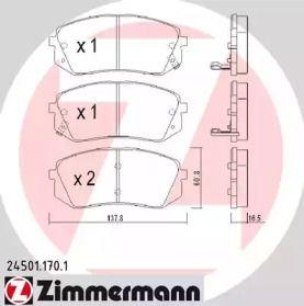 Тормозные колодки 'OTTO ZIMMERMANN 24501.170.1'.