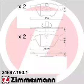 Гальмівні колодки 'OTTO ZIMMERMANN 24697.190.1'.
