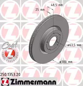 Вентилируемый тормозной диск на FORD GRAND C-MAX 'OTTO ZIMMERMANN 250.1353.20'.