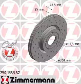 Вентилируемый тормозной диск с перфорацией на Форд Гранд С-макс 'OTTO ZIMMERMANN 250.1353.52'.