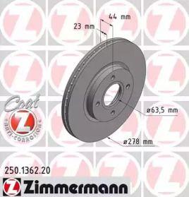 Вентилируемый тормозной диск на FORD TOURNEO COURIER 'OTTO ZIMMERMANN 250.1362.20'.