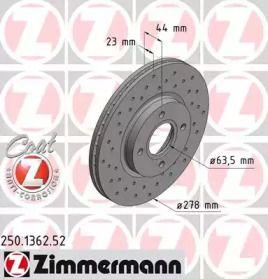 Вентилируемый тормозной диск с перфорацией на Форд Торнео Курьер 'OTTO ZIMMERMANN 250.1362.52'.