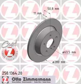 Тормозной диск на Форд Гранд С-макс 'OTTO ZIMMERMANN 250.1364.20'.