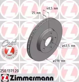 Вентилируемый тормозной диск на FORD GRAND C-MAX 'OTTO ZIMMERMANN 250.1371.20'.