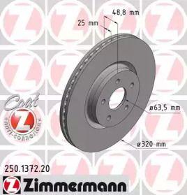 Вентилируемый тормозной диск 'OTTO ZIMMERMANN 250.1372.20'.