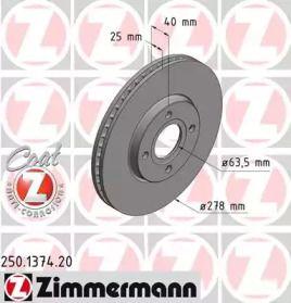 Вентилируемый тормозной диск на Форд Экоспорт 'OTTO ZIMMERMANN 250.1374.20'.
