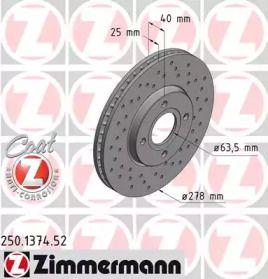 Вентилируемый тормозной диск с перфорацией на Форд Экоспорт 'OTTO ZIMMERMANN 250.1374.52'.