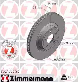 Перфорированный тормозной диск на FORD MUSTANG 'OTTO ZIMMERMANN 250.1386.20'.