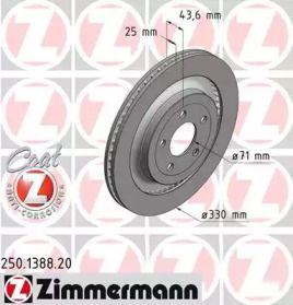 Перфорированный тормозной диск на Форд Мустанг 'OTTO ZIMMERMANN 250.1388.20'.