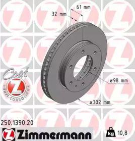 Вентилируемый тормозной диск на Мазда БТ 50 'OTTO ZIMMERMANN 250.1390.20'.