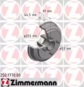 Тормозной барабан на FORD FUSION 'OTTO ZIMMERMANN 250.1770.00'.