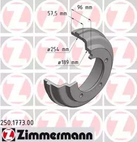 Тормозной барабан на Форд Транзит Турнео 'OTTO ZIMMERMANN 250.1773.00'.