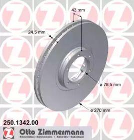 Вентильований гальмівний диск OTTO ZIMMERMANN 250.1342.00 малюнок 0