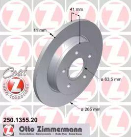 Тормозной диск 'OTTO ZIMMERMANN 250.1355.20'.