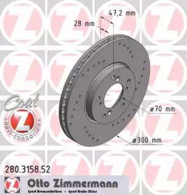 Вентильований гальмівний диск з перфорацією OTTO ZIMMERMANN 280.3158.52 малюнок 0