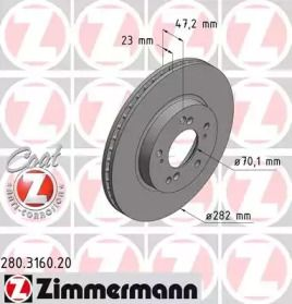 Вентилируемый тормозной диск на HONDA HR-V 'OTTO ZIMMERMANN 280.3160.20'.