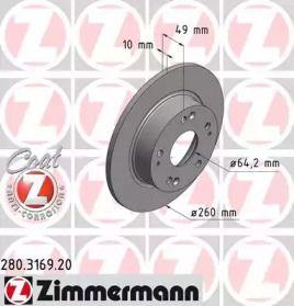 Тормозной диск 'OTTO ZIMMERMANN 280.3169.20'.