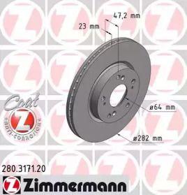 Вентилируемый тормозной диск на Хонда ФРВ 'OTTO ZIMMERMANN 280.3171.20'.