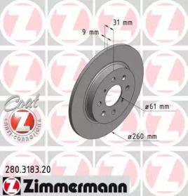 Гальмівний диск OTTO ZIMMERMANN 280.3183.20 малюнок 0