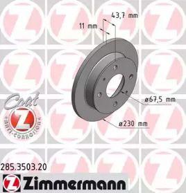 Гальмівний диск OTTO ZIMMERMANN 285.3503.20 малюнок 0