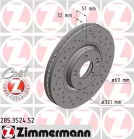 Вентилируемый тормозной диск с перфорацией на HYUNDAI IX55 'OTTO ZIMMERMANN 285.3524.52'.