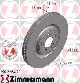 Вентилируемый тормозной диск на JAGUAR XK 'OTTO ZIMMERMANN 290.2264.20'.