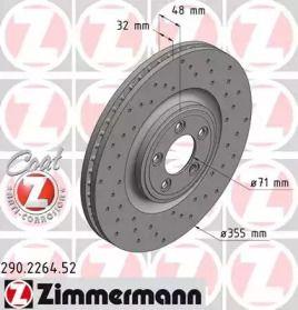 Вентилируемый тормозной диск с перфорацией на Ягуар ХЖ 'OTTO ZIMMERMANN 290.2264.52'.