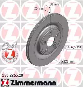 Вентилируемый тормозной диск на Ягуар ХК 'OTTO ZIMMERMANN 290.2265.20'.