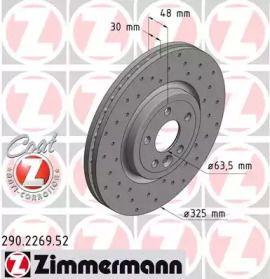 Вентилируемый тормозной диск с перфорацией на Ягуар Ф-Пейс 'OTTO ZIMMERMANN 290.2269.52'.