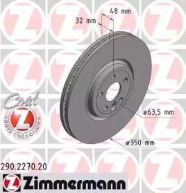 Вентилируемый тормозной диск на Ягуар Ф-Пейс 'OTTO ZIMMERMANN 290.2270.20'.