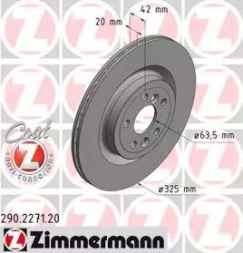 Вентилируемый тормозной диск на JAGUAR F-PACE 'OTTO ZIMMERMANN 290.2271.20'.