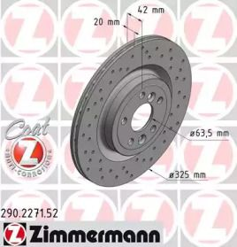 Вентилируемый тормозной диск с перфорацией на JAGUAR F-PACE 'OTTO ZIMMERMANN 290.2271.52'.