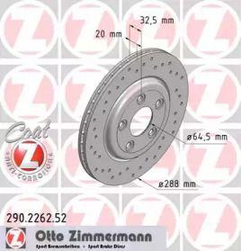 Вентилируемый тормозной диск с перфорацией на JAGUAR XJ 'OTTO ZIMMERMANN 290.2262.52'.