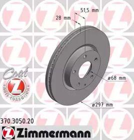 Вентильований гальмівний диск на Мазда СХ5 OTTO ZIMMERMANN 370.3050.20.