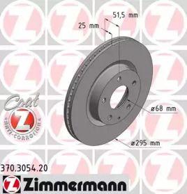 Вентилируемый тормозной диск на Мазда СХ3 'OTTO ZIMMERMANN 370.3054.20'.