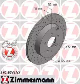 Вентилируемый тормозной диск с перфорацией на Мазда СХ9 'OTTO ZIMMERMANN 370.3059.52'.