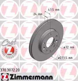 Вентильований гальмівний диск 'OTTO ZIMMERMANN 370.3072.20'.