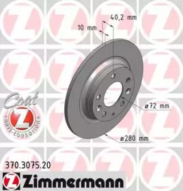 Тормозной диск 'OTTO ZIMMERMANN 370.3075.20'.