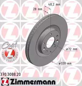 Вентилируемый тормозной диск на MAZDA CX-9 'OTTO ZIMMERMANN 370.3088.20'.
