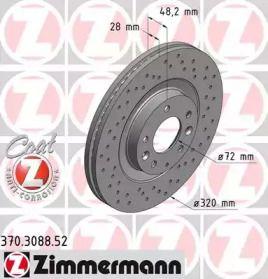 Вентилируемый тормозной диск с перфорацией на MAZDA CX-9 'OTTO ZIMMERMANN 370.3088.52'.