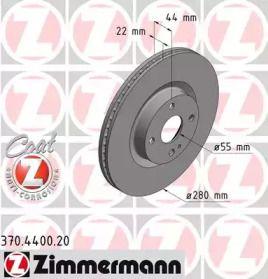 Вентилируемый тормозной диск на FIAT 124 'OTTO ZIMMERMANN 370.4400.20'.