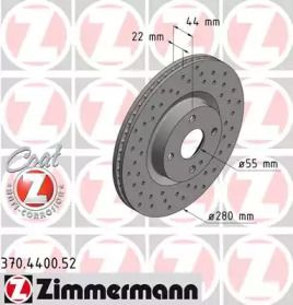 Вентилируемый тормозной диск с перфорацией на Фиат 124 'OTTO ZIMMERMANN 370.4400.52'.