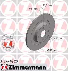 Тормозной диск на Фиат 124 'OTTO ZIMMERMANN 370.4402.20'.