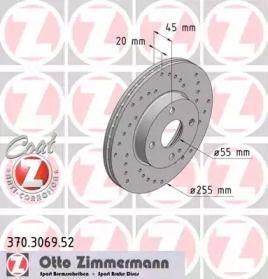 Вентильований гальмівний диск з перфорацією OTTO ZIMMERMANN 370.3069.52 малюнок 0
