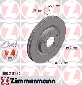 Вентилируемый тормозной диск на JEEP COMPASS 'OTTO ZIMMERMANN 380.2111.20'.