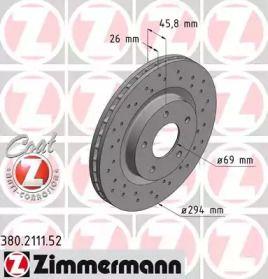 Вентилируемый тормозной диск с перфорацией на Джип Патриот 'OTTO ZIMMERMANN 380.2111.52'.