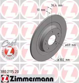 Тормозной диск на Пежо 4008 'OTTO ZIMMERMANN 380.2115.20'.