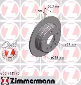Тормозной диск на MERCEDES-BENZ VANEO 'OTTO ZIMMERMANN 400.3611.20'.