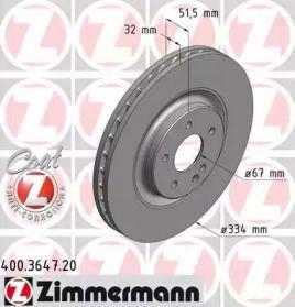 Вентильований гальмівний диск OTTO ZIMMERMANN 400.3647.20 малюнок 0