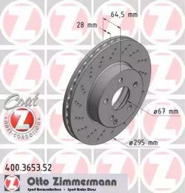Вентилируемый тормозной диск с перфорацией OTTO ZIMMERMANN 400.3653.52.